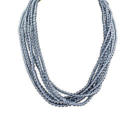 Judith Ripka 18K Yellow Gold Twisted Blue Gray Glass Beads Necklace