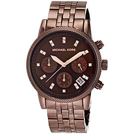 Michael Kors MK5547 Ritz Brown Dial Brown IP Stainless Chronograph 36.50mm Womens Watch