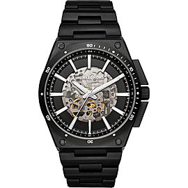 Michael Kors MK9023 Black IP Stainless Steel Skeleton Black Dial Automatic 44mm Men's Watch