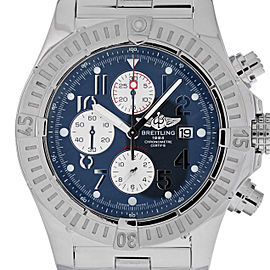 Breitling Super Avenger A13370 Stainless Steel Blue Arabic Dial Chronograph Automatic 48mm Mens Watch