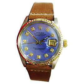 Rolex Datejust Stainless Steel/Yellow Gold & Leather Blue Dial wDiamonds Automatic 36mm Mens Watch