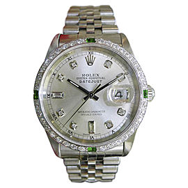 Rolex Datejust Stainless Steel/White Gold Mother-of-Pearl Dial Diamonds 36mm Mens Watch