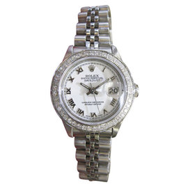 Rolex Oyster Perpetual Datejust Diamonds Stainless Steel 26mm Womens Watch