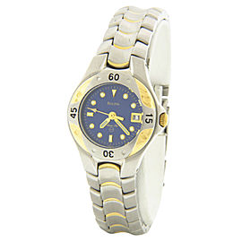 Bulova 98U10 Two-Tone Stainless Steel Blue Dial Quartz 27mm Womens Watch