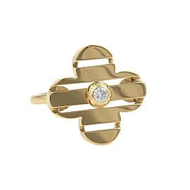Louis Vuitton Petite Fleur 18K Yellow Gold & Diamond Floral Ring Size 6