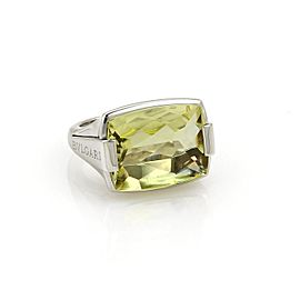 Bulgari 18K White Gold Lemon Citrine Ring Size 4.75