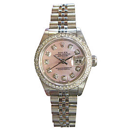 Rolex Datejust Stainless Steel Pink Mother-of-Pearl Diamond Bezel and Diamond Dial 25mm Womens Watch
