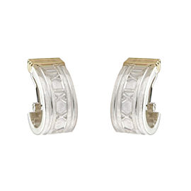 Tiffany & Co. 925 Sterling Silver & 18K Yellow Gold Atlas Numeral Post Clip Earrings