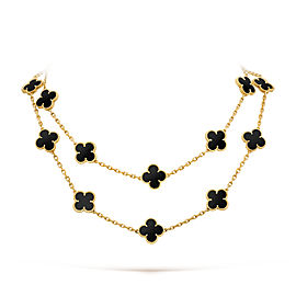 Van Cleef & Arpels Black Vintage Alhambra Long Motifs Yellow Gold Onyx Necklace