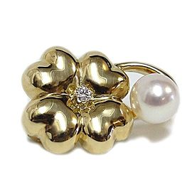 Mikimoto 18k Yellow Gold Pearl Diamond Pin Brooch