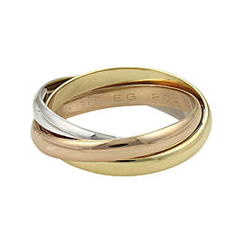 Cartier Trinity 18K Yellow White & Rose Gold Band Ring Size 9