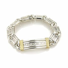 Tiffany & Co. Atlas Numeral 925 Sterling Silver & 18K Gold Curved Bar Bracelet