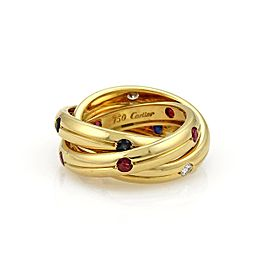 Cartier Trinity 18K Yellow Gold wDiamond/Sapphire/Ruby Grooved Band Ring Size 5