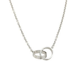 Cartier Baby Love 18K White Gold Infinity Double Mini Ring Pendant Necklace