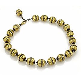 18K Yellow Gold Beaded Necklace