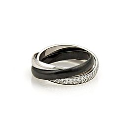Cartier 18K White Gold & Black Ceramic Diamond Trinity Rolling Band Ring Size 5.25