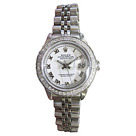 Rolex Datejust 69160 Stainless Steel Diamonds White Dial 26mm Womens Watch