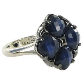 Tacori City Lights 925 Sterling Silver & 18K Yellow Gold Blue Quartz & Hematite Doublet Ring Size 7