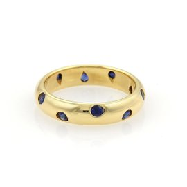 Tiffany & Co. Etoile 18K Yellow Gold with Sapphire Wide Band Ring Size 5