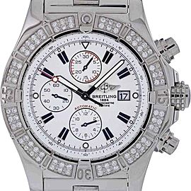 Breitling Super Avenger A13370 Stainless Steel Diamond Bezel Swiss Automatic 48mm Mens Watch
