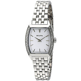 Bulova 96R196 Stainless Steel Diamond Accent White Dial 26mm Womens Watch