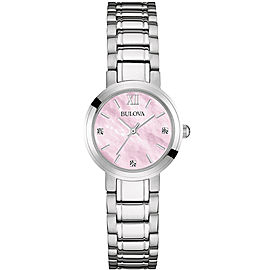 Bulova 96P165 Stainless Steel Pink Mother Of Pearl Diamond Dial 26mm Womens Watch