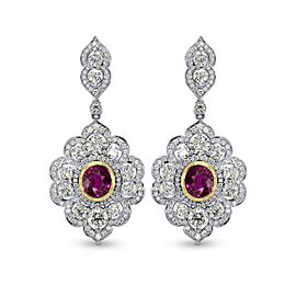 Leibish 18K White and Yellow Gold with 7.19ctw Ruby & Diamond Drop Earrings