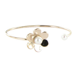 Tous Vermeil Rose Gold Plated 925 Sterling Silver & Pearl Flower Cuff Bracelet