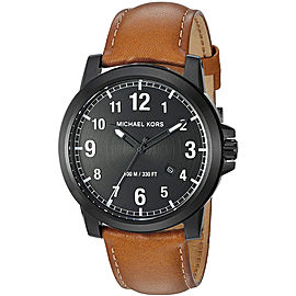 Michael Kors Paxton MK8502 Ion Plated Stainless Steel / Leather Quartz 43mm Mens Watch