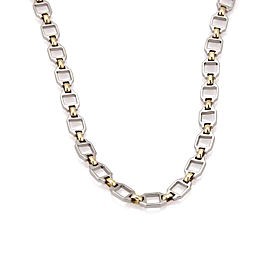 Cartier 18K Yellow Gold and Stainless Steel Square & Oval Link Necklace