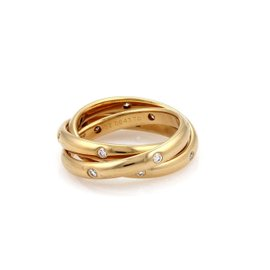 Cartier 18K Yellow Gold with Diamond Trinity Rolling Band Ring Size 6
