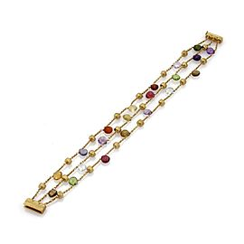 Marco Bicego Paradise 18K Yellow Gold & Multicolor Gemstone Triple Strand Bracelet
