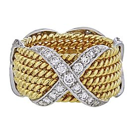 Tiffany & Co. Schlumberger 18K Yellow Gold Criss Cross Ring Size 4.5