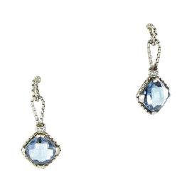 David Yurman Cushion On Point 925 Sterling Silver with 0.16ct. Diamond & Blue Topaz Earrings