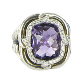David Yurman Labyrinth 925 Sterling Silver with Amethyst & 0.18ct. Diamond Ring Size 7