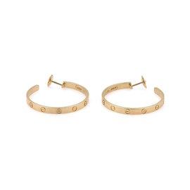 Cartier Love 18K Yellow Gold Screw Motif Large Hoop Earrings