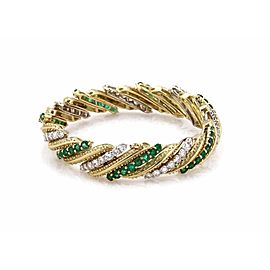 Hammerman Brothers 18K White & Yellow Gold 13ct Diamond & Emerald Long Bracelet
