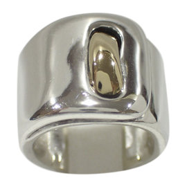Hermes 925 Sterling Silver and 18K Yellow Gold Ring Size 6.5