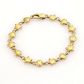 Tiffany & Co. 18K Yellow Gold Hearts & Star Link Bracelet