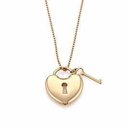 Tiffany & Co. 18K Rose Gold Heart Padlock & Key Pendant Bead Chain Necklace