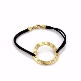 Bulgari Bvlgari 18K Yellow Gold Circle Charm Double Cord Bracelet