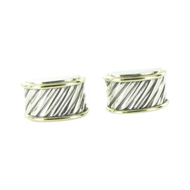 David Yurman Cable 925 Sterling Silver & 14K Yellow Gold Cigar Band Cufflinks