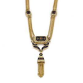 Vintage 18K Yellow Gold & Enamel with 1.60ct Diamond 3 Strand Chain Tassel Necklace