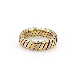 Bulgari Tubogas 18K Yellow, White & Rose Gold Band Ring Size 6