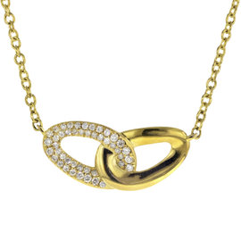 Ippolita 18K Yellow Gold with 0.19ct Diamond Cherish Bond Pendant Necklace