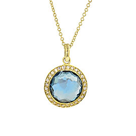 Ippolita 18K Yellow Gold with Blue Topaz & 0.14ct Diamond Lollipop London Halo Necklace