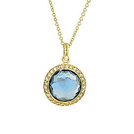 Ippolita 18K Yellow Gold with Blue Topaz & 0.14ct Diamond Lollipop London Halo Necklace