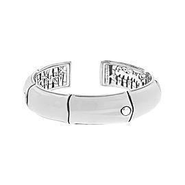 John Hardy 925 Sterling Silver with White Enamel Bamboo Bracelet