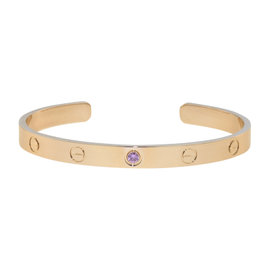 Cartier 18K Rose Gold with Pink Sapphire Love Cuff Bracelet Size 18