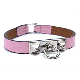 Hermes Silver Tone Hardware Micro Rivale Rose Sakura Veau Swift Bracelet